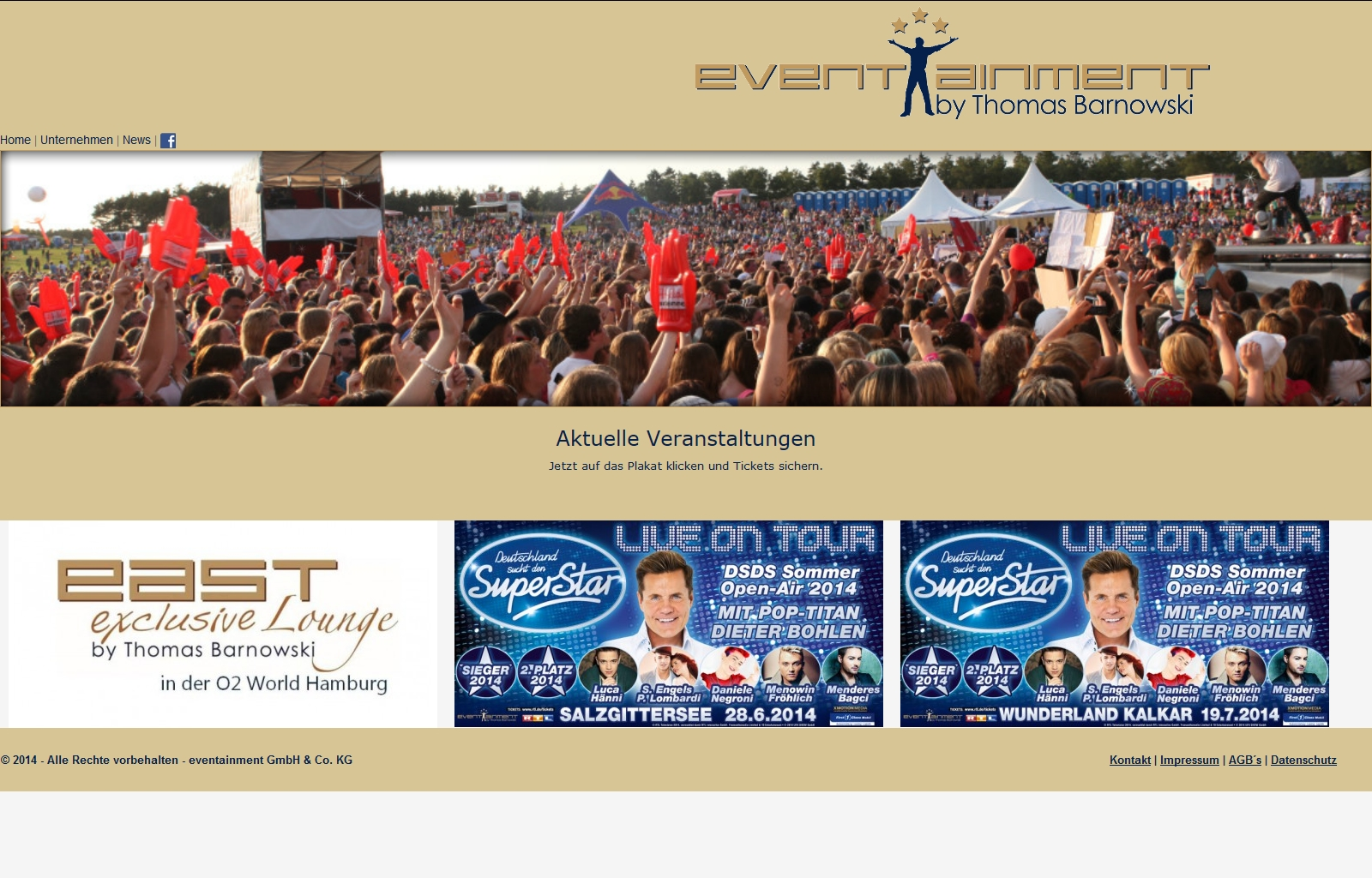 Neue Ticket Shop Website für eventainment-hh.com