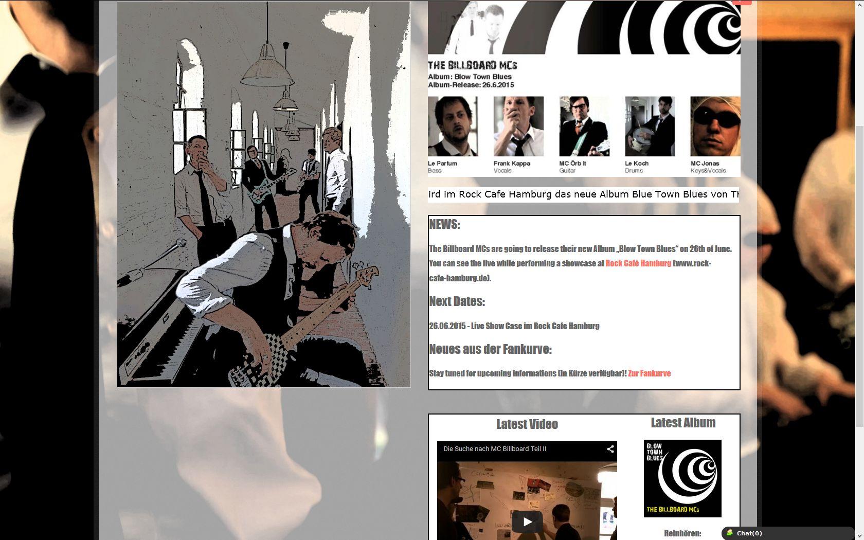 Darstellung der Band in Joomla! mit JSN Image Show, News-Ticker, Banddarstellung, Video und letztes Album